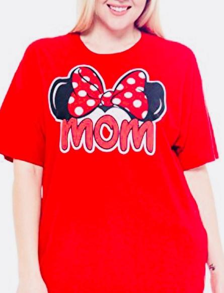 e19767fb Disney Tops | Mom Minnie Mouse Ears Bow Tshirt Red S | Poshmark